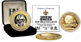 Drew Brees 24KT Gold Commemorative Coin