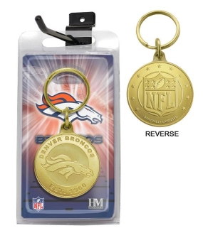 Denver Broncos Bronze Bullion Keychain
