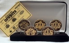 Dallas Cowboys 24KT Gold Super Bowl 5 Coin Set