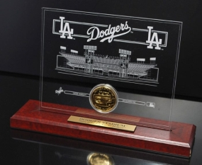 Dodger Stadium 24KT Gold Desktop Etched Acrylic