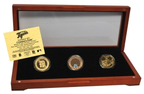 DETROIT TIGERS 24kt Gold and Infield Dirt 3 Coin Set