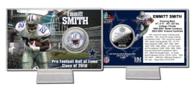 Emmitt Smith HOF Induction Silver Plate Coin Card
