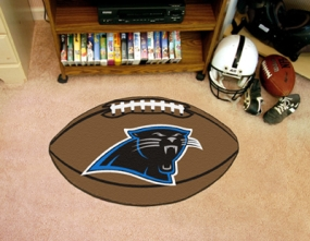 Carolina Panthers Football Shaped Rug
