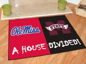 Mississippi Rebels House Divided Rug Mat