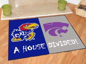 Kansas Jayhawks House Divided Rug Mat