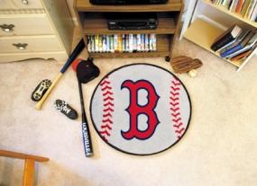 Boston Red Sox Baseball Shaped Rug