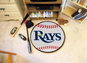 Tampa Bay Rays Baseball Shaped Rug