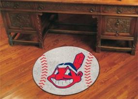 Cleveland Indians Baseball Shaped Rug