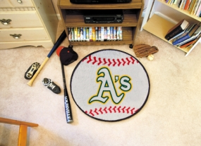 Oakland A's Baseball Shaped Rug
