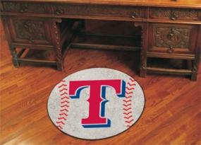 Texas Rangers Baseball Shaped Rug