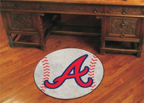Atlanta Braves Baseball Shaped Rug