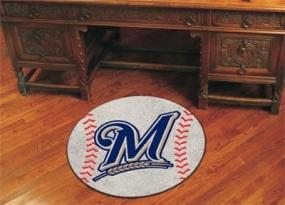Milwaukee Brewers Baseball Shaped Rug