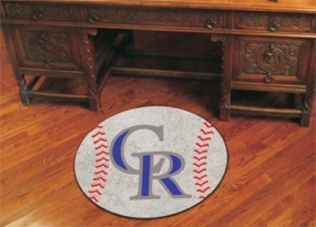 Colorado Rockies Baseball Shaped Rug