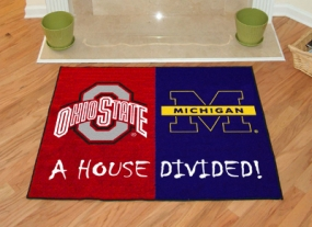 Michigan Wolverines House Divided Rug Mat