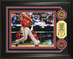 "Justin Upton ""Autographed"" Photomint w/ Gold and Infield Dirt Coins"