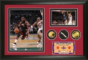 Dwyane Wade 2009 All Star Game Used Net & 24KT Gold Coin Photo Mint