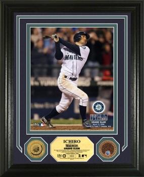 """Ichiro """"Grand Slam"""" 24KT Gold & Infield Dirt Coin Photo Mint"""