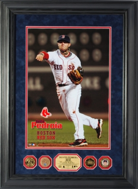 Dustin Pedroia 24KT Gold and Infield Dirt Coin Special Suede Edition Photo Mint