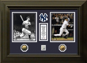 Derek Jeter Lou Gehrig Yankees Duo 24KT Gold Photo Mint