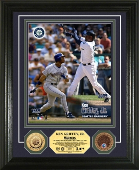 "Ken Griffey Jr. ""Then and Now"" 24KT Gold and Infield Dirt Coin Photo Mint"