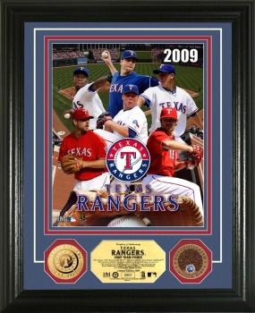 """Texas Rangers """"Pitchers"""" 24KT Gold & Infield Dirt Coin Photo Mint"""