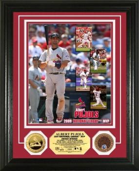 Albert Pujols 2009 N.L. MVP 24KT Gold & Infield Dirt Coin Photo Mint