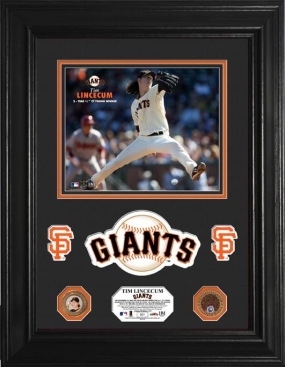 Tim Lincecum 2009 NL Cy Young Winner 24KT Gold & Infield Dirt Coin Marquee Photo Mint