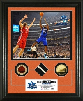 Lebron James 2010 All Star game GU Net,Ball & 24KT Gold Coin Photo Mint