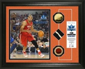 Tim Duncan  2010 All Star game GU Net,Ball & 24KT Gold Coin Photo Mint