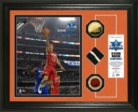 Steve Nash  2010 All Star game GU Net,Ball & 24KT Gold Coin Photo Mint