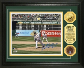 Dallas Braden Perfect Game Autographed 24KT Gold & Infield Dirt Coin Photo Mint