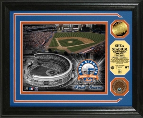 Shea Stadium Final Season 24KT Gold and Infield Dirt Coin Photo Mint