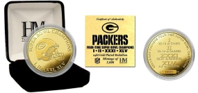 Green Bay Packers 4-Time Super Bowl Champions 24KT Gold Coin