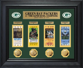 Green Bay Packers Super Bowl Ticket and Game Coin Collectible Frame