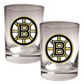 Boston Bruins 2pc Rocks Glass Set