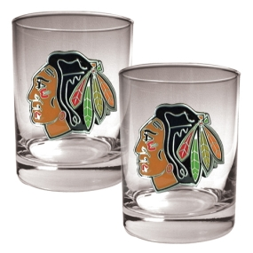 Chicago Blackhawks 2pc Rocks Glass Set
