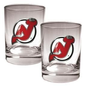 New Jersey Devils 2pc Rocks Glass Set