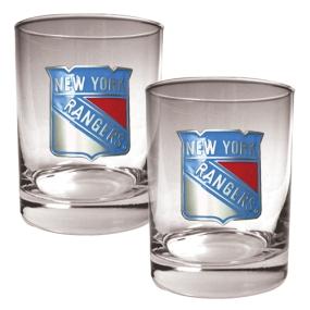 New York Rangers 2pc Rocks Glass Set