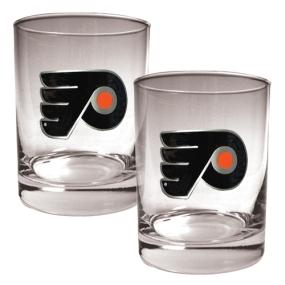 Philadelphia Flyers 2pc Rocks Glass Set