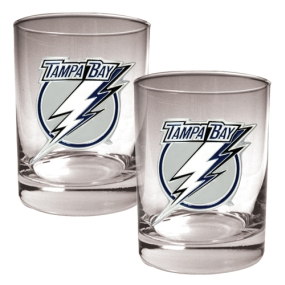 Tampa Bay Lightning 2pc Rocks Glass Set