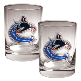 Vancouver Canucks 2pc Rocks Glass Set