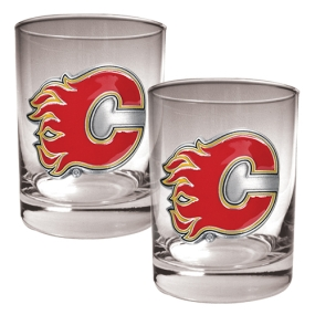 Atlanta Flames 2pc Rocks Glass Set