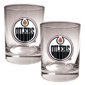 Edmonton Oilers 2pc Rocks Glass Set