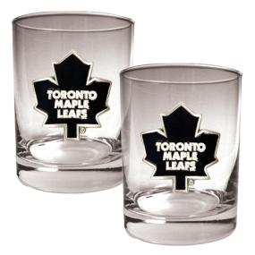 Toronto Maple Leafs 2pc Rocks Glass Set