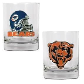 Chicago Bears 2pc Rocks Glass Set