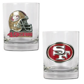 San Francisco 49ers 2pc Rocks Glass Set