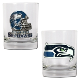 Seattle Seahawks 2pc Rocks Glass Set