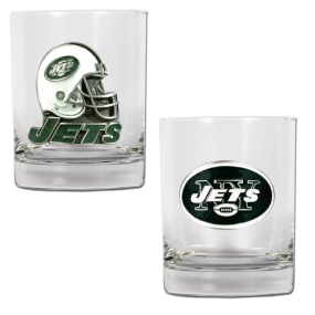 New York Jets 2pc Rocks Glass Set