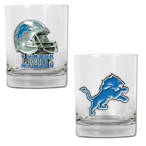 Detroit Lions 2pc Rocks Glass Set