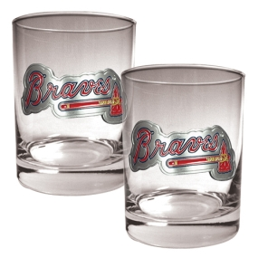 Atlanta Braves 2pc Rocks Glass Set